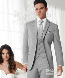 Wholesale Two Colour Wedding - Hot Recommend Grey Colour Wedding Party Groom Tuxedos (clothes+pants+tie+waistcoat)