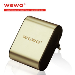 Wholesale Iphone Charger Chip - WEWO New Travel Charger Quick Charging Output 5V2A Dual Ports USB & Type-C EU Plug Adapter Smart Charge Chip Overload Protection Anti-Fire