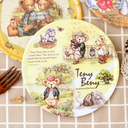 Wholesale Round Dinner Tables - Wholesale- 1pc Dinner Placemats Circle Mat Cartoon Heat Pad Bowl Pad Large Pot Holder Dining Table Coaster
