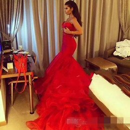Wholesale Silver Gold Strapless Prom Gown - New Sexy Deep V-neck Red Organza Mermaid Prom Dresses 2017 With Beaded Sashes Robe De Soiree Long Train Evening Gown