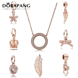 Wholesale Sterling Silver Glass Beads - DORAPANG Authentic 925 Sterling Silver Beads Hearts Of Crystal Pendant Necklace Fits European Style Jewelry Rose Gold Plated for Women
