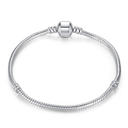 Wholesale Bracelet Children - Drop Shipping Silver Plated Bracelets Snake Chain Fit Luxury Brand Charm Beads for pandora Bangle Logo Bracelet Women Children Gift