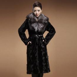 Wholesale Mink Fur Garment - women natural mink fur coat special fur long jacket with big silver fox fur collar winter keep warm female mink coat garment