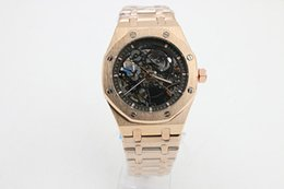 Wholesale Cases Straps - 2017 New Hot AP high-quality luxury brand ROYAL OAK OFFSHORE18K gold case steel strap black hollow dial automatic mechanical men's watches