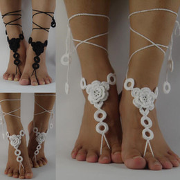 Wholesale Shoes Woman Color Nude - White Crochet Barefoot Sandals, Nude shoes, cotton Jewelry, Beach Wedding Sexy Anklet , Bellydance,Beach Footwear Custom Color
