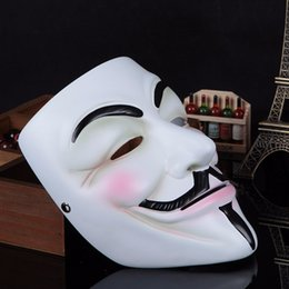 Wholesale Vendetta Dhl - V Mask Vendetta party Mask Party Face Mask Halloween Super Scary Fedex DHL free