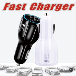 Wholesale Fast Packaging - For Samsung Galaxy S8 Iphone QC3.0 fast charge 3.1A Qualcomm Quick Charge car charger Dual USB phone charger with opp package