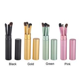Wholesale Gold Pony - Makeup Brushes Set Professional Pony Hair Make Up Brushes Eye Makeup Tool Cosmetic Kit with Round Tube 5pcs set