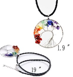 Wholesale Silver Tree Pendants - Tumbled Gemstone Necklace Tree of Life Pendant 7 Chakra Charm Jewelry Multicolor Reiki Healing Stone Crystal Glass European Necklace B157S