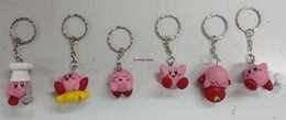 Wholesale Anime Charms - New hot 2 style 6pcs lot 3-4CM Japanese anime figure putitto Kirby mini kawaii action figure Phone keychains model toys for girls