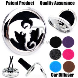 Wholesale Stainless Magnet - Hot Sale Silver Dragon (38mm) Magnet Diffuser Car aromatherapy Lockets Free Pads Essential Oil 316 Stainless Steel Car Air Fresher Lockets