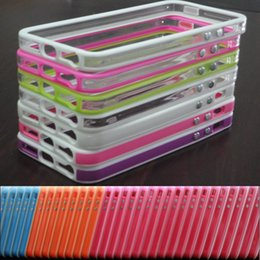 Wholesale Iphone Silicone Case Metal Button - Metal button Frame bumper Bumpers Gel Silicone Hard Plastic back cover case for iphone 5 5G 5S With Retail Package Free Shipping MOQ:100pcs
