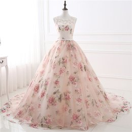 Wholesale Printed Satin Prom Dresses - 2018 Sexy Sheer Neck Printed Flower Evening Gowns Sleeveless Backless A Line Prom Dresses Ball Gown Long Formal Party Dress Sweep Train