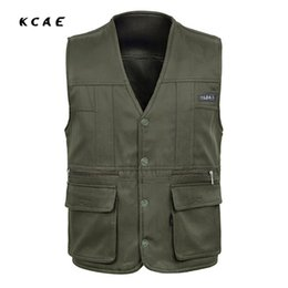 Wholesale Photography Men - Wholesale- New Arrival Summer Cotton Casual Breathable Men Vest for Shooting Clothes Reporter Vest Jackets Multi-pocket Photography Vest