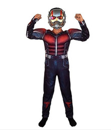 Wholesale Marvel Dresses - Child Deluxe Ant man Muscle Costume Boys Marvel New Superhero Cosplay Halloween Fancy Dress 3pcs Outfit For Kids LED Masks