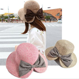 Wholesale Womens Wide Brim Fedora Hat - Womens Floppy Summer Sun Beach Straw Bucket Hat Fedora Foldable Church Wide Brim Hat 56-58cm