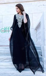 Wholesale Muslim Fashion Evening Dresses - Sexy 2016 Kaftan Abaya Arabic Evening Dresses V-neck Crystals Beaded Chiffon Appliques Formal Gowns Dubai Muslim Prom Dresses