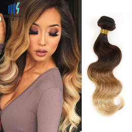 Wholesale Brazilian Hair Clearance - Clearance Lowest Price 1 Bundle T 4 30 27 Brown Blonde Colored Brazilian Ombre Human Hair Weave Body Wave 12 14 18 inch