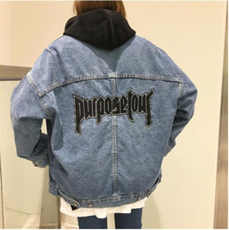 Wholesale Wind Tour - Harajuku Loose Womens Denims Jackets Bf Wind Pockets Jeans Jackets New Spring Female Long Sleeved Jaqueta Feminina printed purpose tour