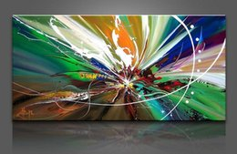 Wholesale Abstract Lines Modern Art Canvas - Framed The green line,Pure Handpainted LARGE MODERN ABSTRACT WALL DECOR Art oil Painting On Quality Canvas Multi sizes Free Shipping Ab127