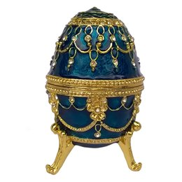 Wholesale Russian Eggs - Blue Faberge Egg Trinket & Jewelry Box Wedding Ring Box Russian Craft