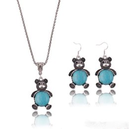 Wholesale Turquoise Elephant Necklaces - Retro Bohemian Hollow Turquoise Necklace Earrings Set Cute Elephant Bear Pendant Jewelry Sets for Women Jewelry Accessories
