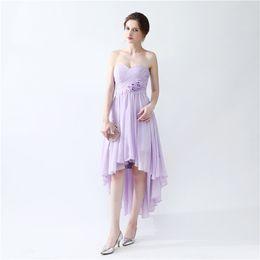 Wholesale Strapless Tea Length - High Low Prom Dresses Vestido De Festa Longo 2017 Strapless A Line Chiffon Bridesmaid Dresses with Handmade Flowers