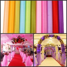 Wholesale Back Covers For Wedding - 12 Colors Fashion Ribbon Roll Organza Tulle Yarn Chair Covers Accessories For Wedding Backdrop Curtain Decorations Supplies