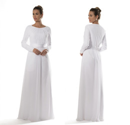 Wholesale Brides Reception Dresses - White Chiffon Temple Modest Bridesmaid Dresses 2017 With Long Sleeves Brides Informal Reception Dresses A-line Floor Length New Custom Made