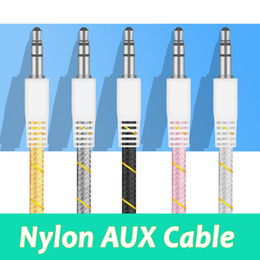Wholesale Auxiliary Adapter For Car Stereo - High quality nylon aux cable 3.5mm Stereo Auxiliary Car Audio Cable 1m Male to Male for mobile and tablets car music play