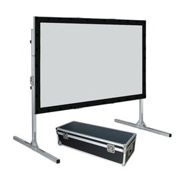 Wholesale Projection Fast Fold Screen - 4:3 Video Format Fast Fold Projector Projection Screen with Rear Projection Material and black velvet drape kits
