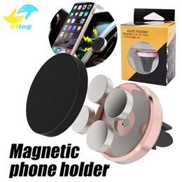 Wholesale Mobile Holders - Universal Metal Air Vent Magnetic Mobile Phone Holder For iPhone Samsung Magnet Car Phone Holder Aluminum Silicone Mount Holder Stand