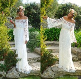 Wholesale White Strapless Hippie Dress - 2017 Country Full Lace Backless Long Sleeves Wedding Dresses Mermaid Strapless Illusion Bodice Sweep Train Sexy Boho Hippie Bridal Gowns