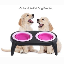 Wholesale Universal Tool Steel - 2018 New Pet double Silicone Folding Bowl Export High Quality Stainless Steel Pet Food Tools Free Shipping