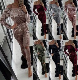 Wholesale Ladies Lounge Sets - Lady Crushed Velvet Romper women one piece suit Strapless Lounge Suit Sweatshirt Pant Women Sport Tracksuit Set LJJK630