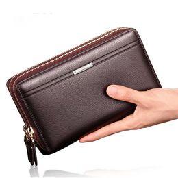 Wholesale Top Brand Men Business Bag - Wholesale- Luxury Brand Business Men Wallets Long PU Men's Leather Cell Phone Clutch Purse Handy Bag Black Top Zipper Large Wallet Purse