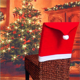 Wholesale festival chair - Christmas Decorations Santa Claus Clause Hat Chair Covers Dinner Chair Cap for Party Festival free shipping