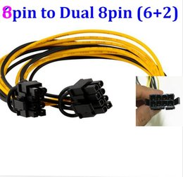 Wholesale Graphic Card Laptops - CPU 8pin 8 pin Female to dual PCI-E PCI Express 8pin ( 6+2 pin ) Male power cable wire For graphics card BTC Miner 20cm