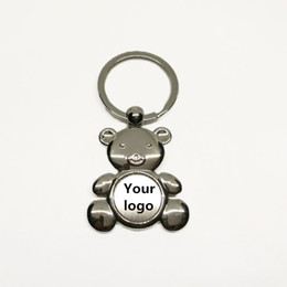 Wholesale Custom Sticker Labels Logo - DHL Free Shipping Cheap Custom Epoxy Sticker Bear Shaped Keyring Promotional Resin Label Logo Metal Keychain