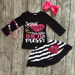 Wholesale Girls Love Set - Jesus loves this little hot mess Fall baby Girls skirt outfits cotton clothing set children outfits with matching accessories