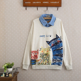 Wholesale Girl Two Color Hoodies - 2017 spring women's cotton hoodies long sleeves, fake two shirt collar, printed girl T-shirt White Off-white (Free size)