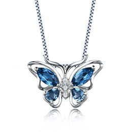Wholesale Blue Topaz Sterling Jewelry - Wholsale Fashion Jewelry New Set Women 925 Sterling Silver Butterfly Pendant Necklace Genuine London Blue Topaz On Stock For Gift Party