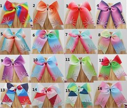 Wholesale Hair Clip Handmade - Dazzling fireworks rhinestone 6 inch jojo Handmade ombre Cheer Bow For Girls Children Rainbows Ribbon Bow Hair clip Accessory 20pcs