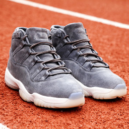 Wholesale Sail Shoes Men - Wailly Retro 11 Basketball Shoes Premium Suede Cool Grey and Sail & Retro 11s Space Jam all-black with royal blue Jumpman Double Box