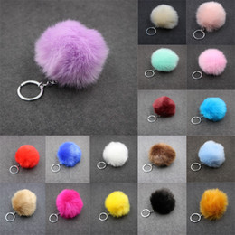 Wholesale Rabbit Key - Solid Color Imitate Rabbit Fur Ball Keychain Pom Pom Car Keychain Handbag Key Ring 3.15 Inch Fluffy Faux Rabbit Fur C95Q