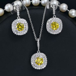 Wholesale Yellow Swarovski Crystal Necklace - Luxury 18k White Gold Plated Swarovski Element Crystal Earring Necklace Set For Women Party Bridal Jewelry Set Wedding Accessories 5 Colors