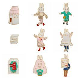 Wholesale Milk Retro - Wholesale- Animated cartoon series Lovely rabbit milk bag Men women enamel brooch Retro drip badges Pectoral clothing collar pin