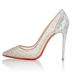 Lentejuelas rhinestones online-Zapatos de boda de tacón alto transparentes en punta 10 CM Zapatos de boda de diamantes de imitación brillantes en lentejuelas bombas de color nude PU Vestidos de novia en tobillo