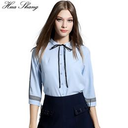 f5d3fed4e242 Women Summer Three Quarter Sleeve Casual Blouse Elegant Lace Up Bow Tie  Collar Blue Chiffon Shirt Lady OL Work Wear Office Shirt