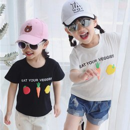 Wholesale Tshirts For Kids Boys - INS Summer Baby Boys T-Shirts Clothes Cotton Short Sleeve Kids 3d Eat Your Veggies Tshirts Tops For Toddler Girls Children's Tee Shirt
